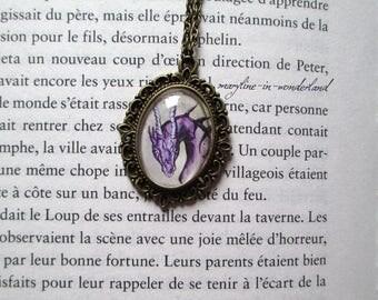 Bronze purple Dragon necklace cabochon