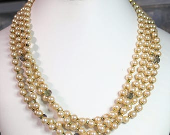 Vintage Creamy Glass Pearls Green Crystals Four Strand Statement Necklace D203