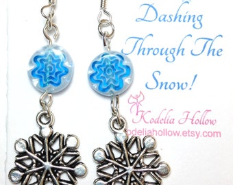 Snowflake Gift Earrings, Friendship gift, Christmas Jewelry, Gift Earrings, Gift card with dangle earrings