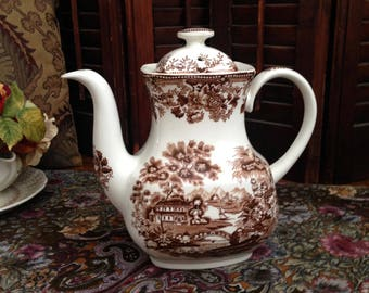 Brown transfer ware coffee or tea pot by Alfred Meakin.  This Staffordshire piece can be used for serving or as a country home accent.