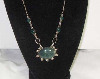 CIJ SALE Sterling Green Aventurine Necklace, Green Gemstone Sterling necklace, Southwestern Sterling Statement, Tribal gift for her Gingersl