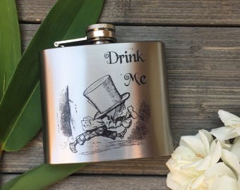 Stainless Steel Flask - Drink Me Design 5oz