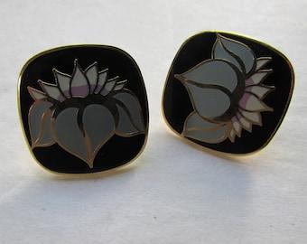 Laurel Burch Earrings HO HWA Design Pierced Earrings Post Style Earrings Blue Gray Petals Black Enamel Vintage Jewelry