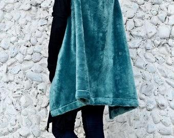 SUN SALE 25% OFF Turquoise Faux Fur Vest / Extravagant Turquoise Vest / Asymmetrical Spring Vest Tc91 / Urban Muse