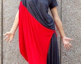 ON SALE Summer Dress TDK33, Color Block Dress, Plus Size Dress, Summer Maxi Dress with Short Sleeves, Summer Kaftan, Casual Dress, Teyxo Dre