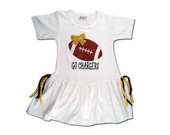 Girl's Football Dress with Yellow and Black Corker Ribbons with Name (or Team) - Customizable Colors
