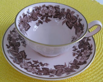 WEDGWOOD BRAMBLE Alpine pink cup and saucer. Made in England. Gold Trim.