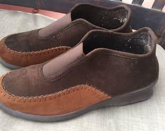 Vintage Rohde black brown wool shoes mules 5
