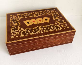 Unique Vintage Wooden Box, Playing Cards Box