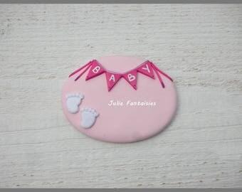 Button baby dough Fimo to customize (Badge pediatrician, nursery, wise woman)