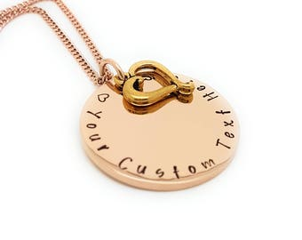 Personalised Family Name Necklace Rose Gold and Antique Gold Love heart Charm Personalised Gift Made to Order. Hand Stamped Gift for Mum