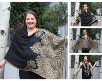Black and Brown Bohemian Paisley Pashmina Poncho Shawl