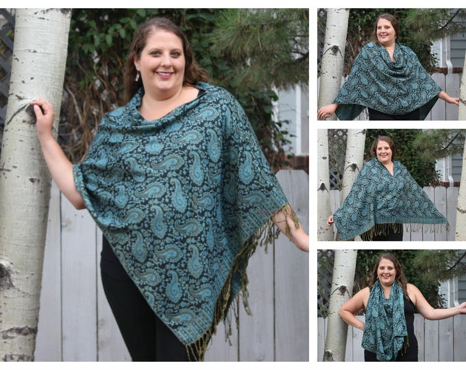 Featured listing image: Classic Black and Teal Paisley Pashmina Poncho Shawl