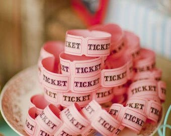 25 Pink Carnival Tickets Paper Ticket Circus Party Game Scrapbook Supplies Blank Ticket Princess Party Girl Baby Shower County Fair Peach
