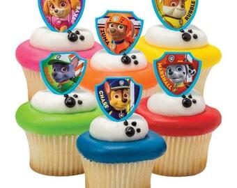 Paw Patrol Cake Toppers (12) Paw Patrol Cupcake Toppers, Paw Patrol Birthday, Paw Patrol Cake Ring, Paw Patrol Party, Paw Patrol Party Favor
