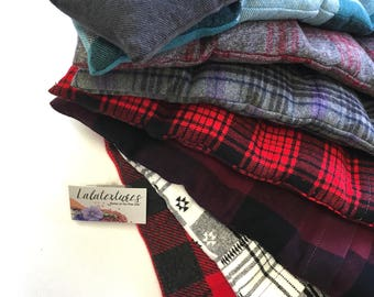 """FLAX HEATING PAD, Microwavable """"The Flax SaK""""  Plaid Flannel washable covers, Perfect Christmas Gift Ideas, Hot Cold Pack,  100 % Flax seeds"""