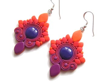 Purple Earrings, Orange Earrings, Colorful Earrings, Polymer Clay Earrings, Light Big Earrings, Bright Earrings, Statement Earrings, Omifimo