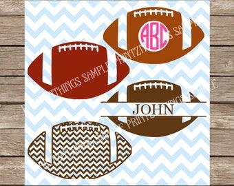 Football svg, Monogram svg, Circle Monogram svg, Sports svg, svg files, svg designs, svg files for cricut, svg silhouette Split monogram svg