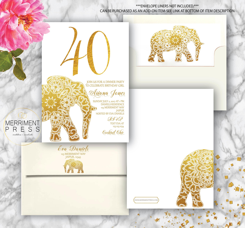Indian themed 40th Birthday Invitation // Bollywood // Elephant ...