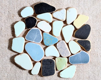 Small Sea Pottery / 25 pieces / Italian Genuine Sea Tiles for Collection, Jewelry and Mosaic / Beach Pottery (sp-0025-1)