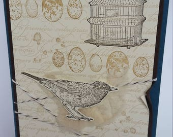 French provincial rustic handmade bird card
