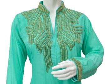 Green Silk Crepe Kurta with Cutdaana Hand Embroidery