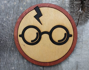 Harry Potter Wood Coaster | Rustic/Vintage | Hand Stained and Glued