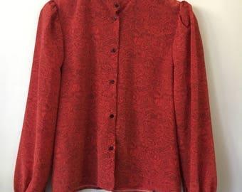 Vintage Romantic Long Sleeve Rose Blouse