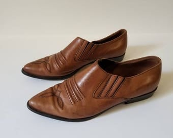 Vintage Western Ankle Boots / Leather ankle boots / 8.5M / Shoes 8.5M