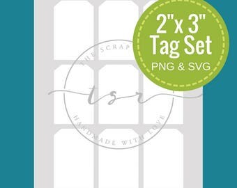 """2""""x3"""" Double sided Tag Template includes sheet of tags and single -- (Instant Download: Printable pdf, png and SVG files)"""