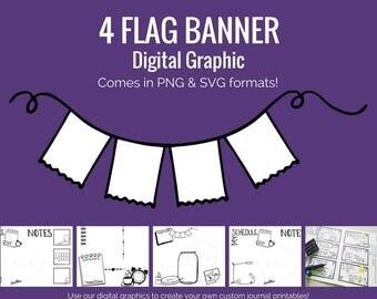 Digital Graphics - 4 Flag Banner (png and svg) Bullet Journal Digital Stickers