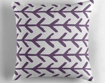 Arrow Pillow, Purple Arrow Throw Pillows, Boho Chic Pillow, Arrow Pillow Cover, Modern Decor, Contemporary Pillow, Modern Cushion