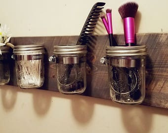 Rustic Home Decor, Mason jar Bathroom Organizer, Mason jar organizer, Bath set, Mason jar decor , Rustic organizer, Bathroom set