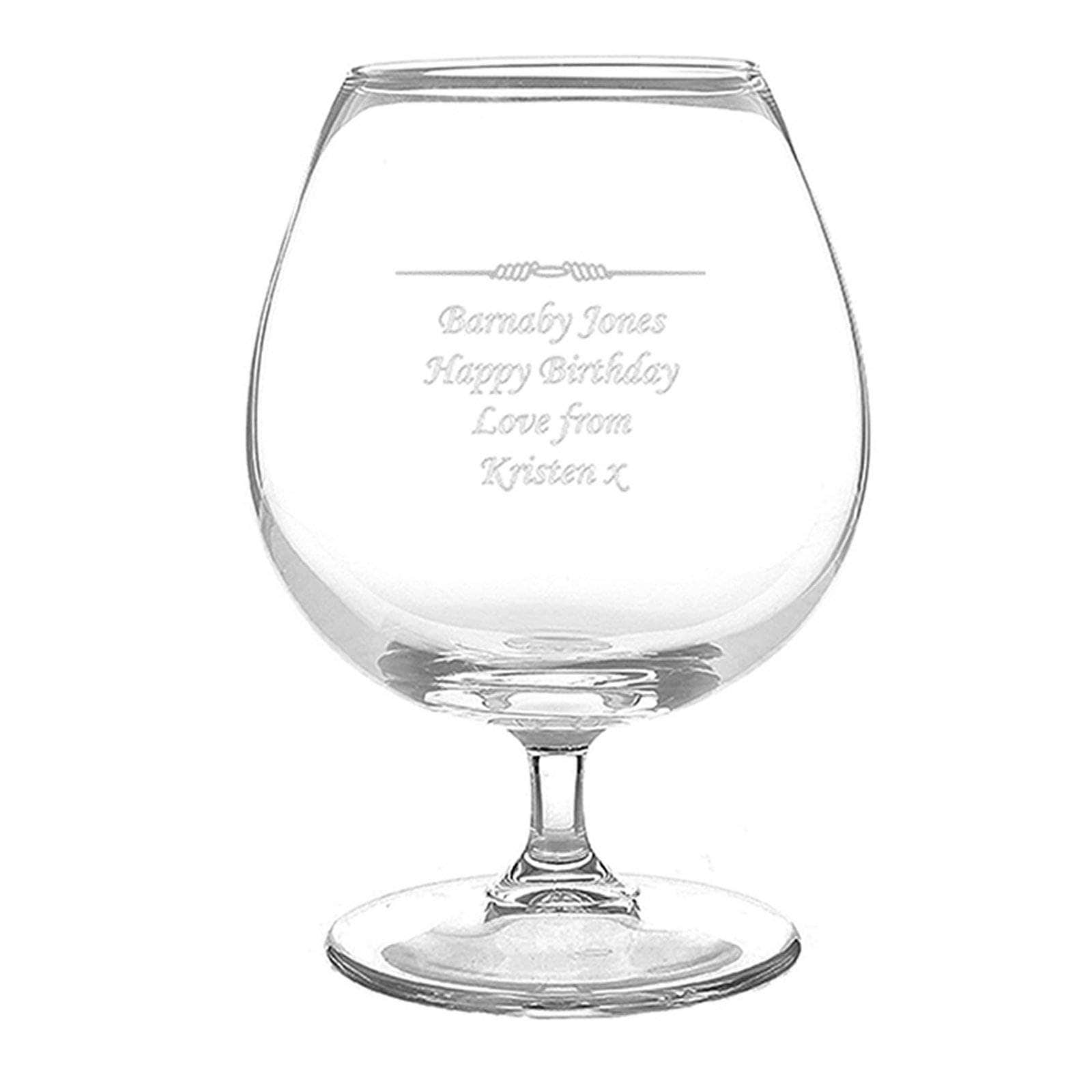 Personalised Brandy Glass Engraved Brandy Snifter Birthday Christmas ...