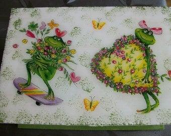 original sugar deco wooden box of frogs