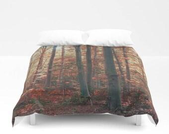 duvet cover. forest duvet cover, woodland duvet cover, tree, trees, autumn, woods, nature, zen
