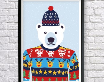 Polar Bear poster, Polar Bear print, Bear Print, Kids room wall decor, Nursery Wall Art, Christmas Gifts, animal prints, Cute nursery print