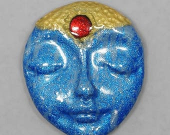 SALE - Face Cabochon, Blue, Gold, Red,  Sleeping Face, Polymer Clay Cabochon, Handmade Cabochon, Art Doll Face
