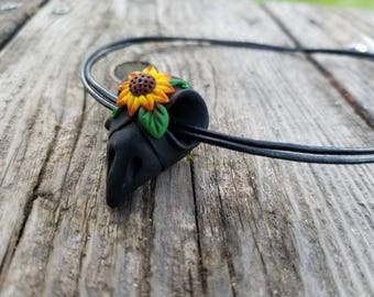 Sunflower Bird Skull Necklace