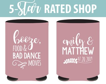 Booze Food and Bad Dance Moves Wedding Can Coolers, Funny Wedding Can Coolers, Bad Dance Moves Stubby Holders, Custom Wedding Stubbies (151)