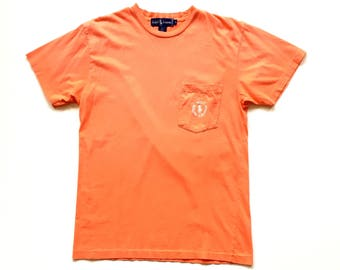 Polo Ralph Lauren Circle Logo Pocket T Shirt Vintage Organic Cotton Limited Edition Short Sleeve T Shirt mens small cookie patch orange