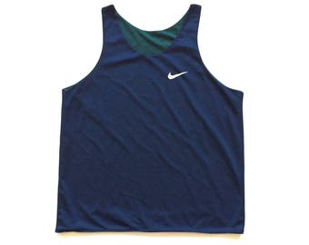 90s reversible nike tank top vintage perforated nike jersey size L XL Blue green