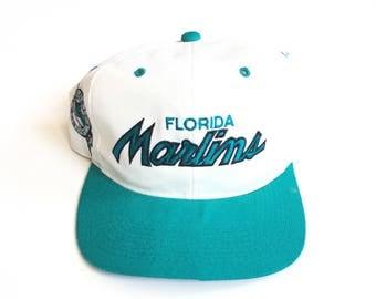 Sports Specialties Florida Marlins MLB Baseball Script Spell Out snapback hat rare side logo wool