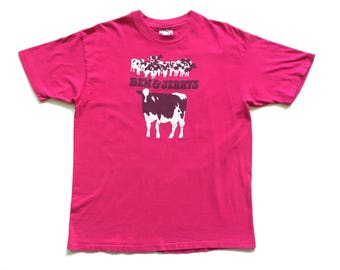 1985 Ben & Jerry's Ice Cream Hanes Beefy T shirt hot pink short sleeve tee vermonts finest 80s single stitch made in USA XL
