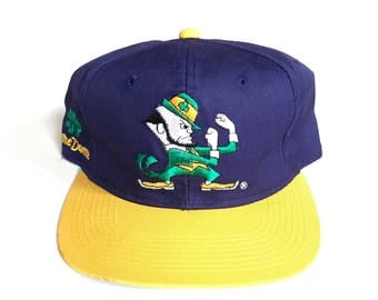 Vintage Notre Dame Fighting Irish sports specialties back script snapback cotton twill 90s adjustable one size fits all NCAA hat
