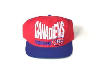 Montreal canadiens nhl hockey block letter spell out vintage Snapback Snap back Strapback hat One Size Adult Unisex twill