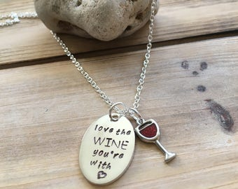 Wine glass necklace, Wine Jewelry, Wine Gift for Women, Friend Gift