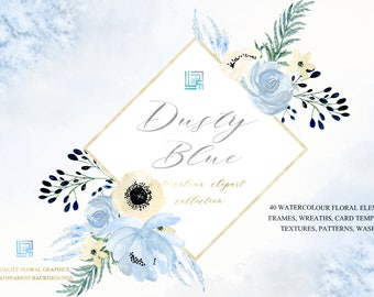 Dusty blue gold watercolour flowers clipart, hand drawn: TEMPLATES and FRAMES. Soft blue, grey and cream colors. Peonies, anemones.