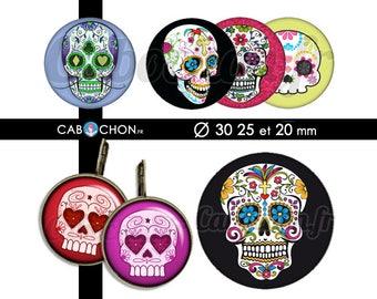 Mexican Skull • 45 Images Digitales RONDES 30 25 et 20 mm digital sheet sugar skulls mexicana crane tete de mort muerte printable