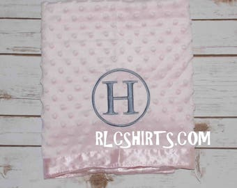 Monogrammed Baby Blanket. Minky Baby Blanket. Personalized Baby Blanket. Blue, Pink, White and Green. Baby Blanket. Minky Blanket. Baby.